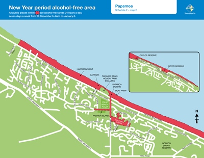 New year period alcohol free area Papamoa